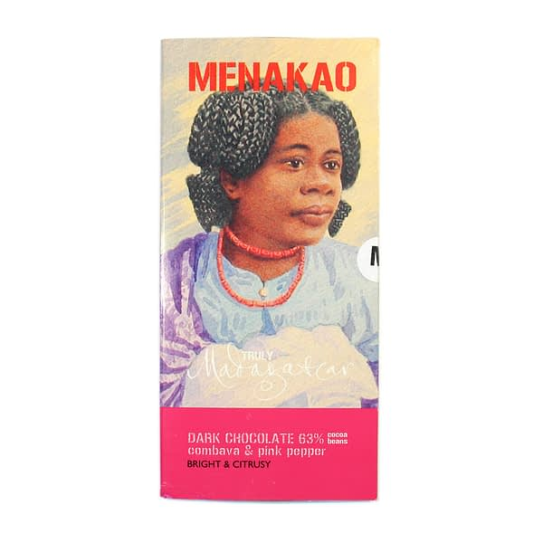 Menakao 63% Dark Chocolate With Combava & Pink Pepper (Taster Bar) (Carton of 24)