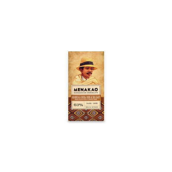 Menakao Dark Chocolate With Arabica Coffee, Sea Salt & Nibs (Taster bar) (Carton of 24)