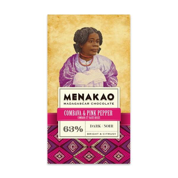 Menakao 63% Dark Chocolate With Combava & Pink Pepper