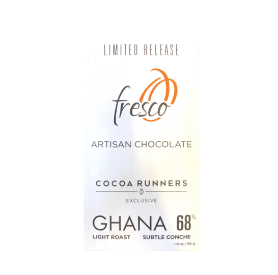 Fresco - 260 Ghana, ABOCFA, Light Roast Subtle Conche 68% | Cocoa Runners Exclusive