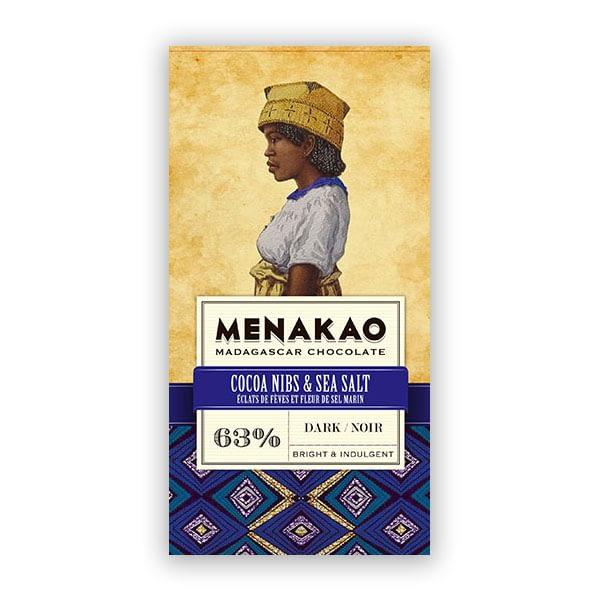 Menakao - Dark Chocolate With Cocoa Nibs & Sea Salt 63%