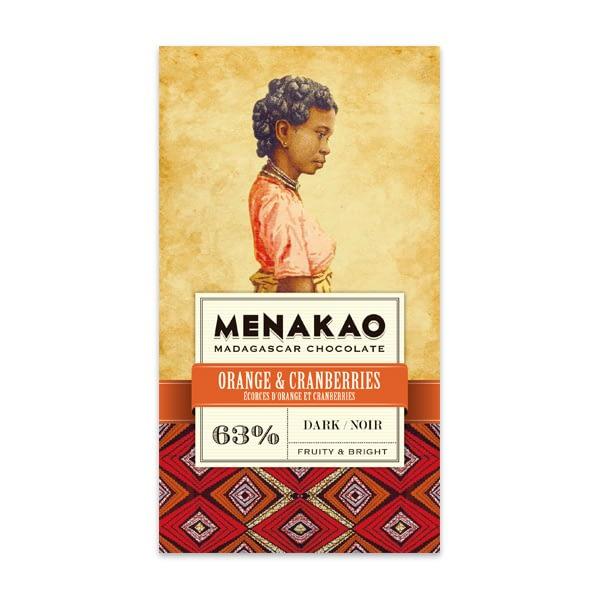 Menakao - Dark Chocolate With Orange & Cranberries 63%