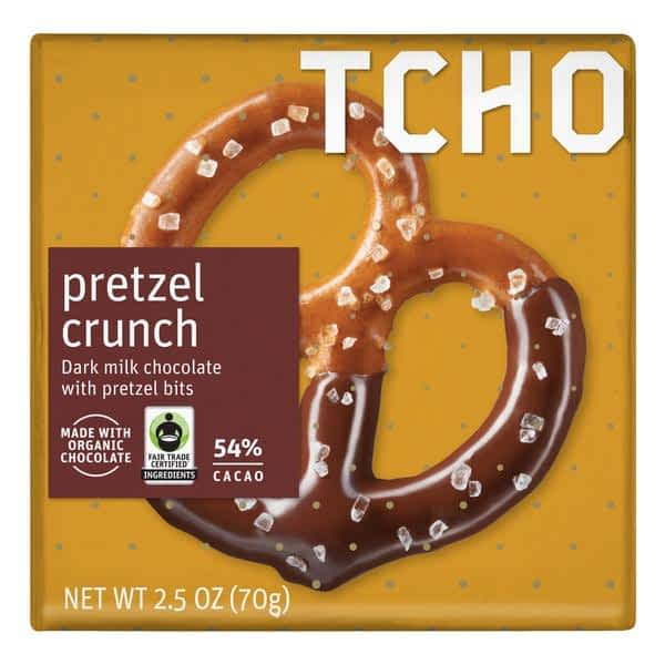 TCHO - 54% Dark Milk Chocolate with Pretzel Crunch (Carton of 12)