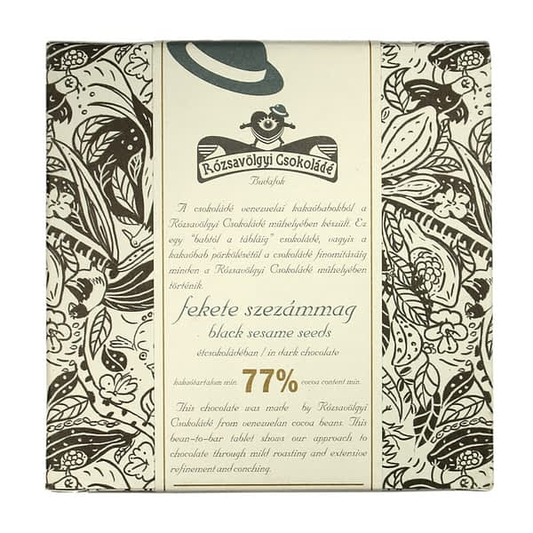 Rózsavölgyi Csokoládé - 73% Dark Chocolate with Black Sesame Seeds (Carton of 10)