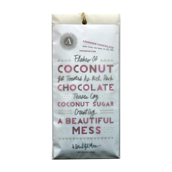 Askinosie Dark Chocolate + Coconut Sugar with Toasted Coconut CollaBARation