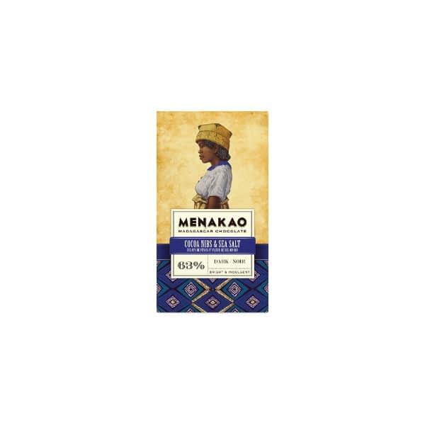 Menakao Dark Chocolate with Cocoa Nibs & Sea Salt (Taster Bar) (Carton of 24)