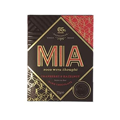 MIA - 65% Dark Chocolate with Cranberry and Hazelnut (Carton of 10)