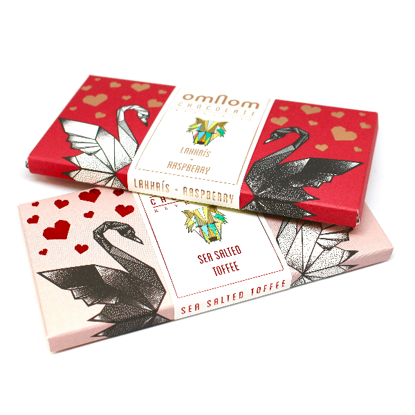 Omnom Love Collection - Lakkrís + Raspberry and Sea Salted Toffee