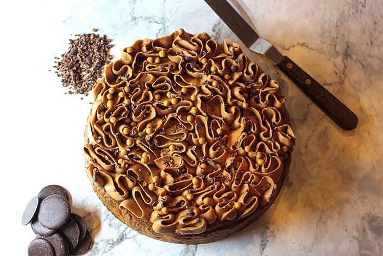 Chocolate Cake Topped With Ruffle Ganache