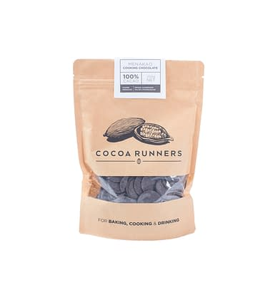 Cocoa Runners Chocolate Buttons for Baking, Cooking, & Drinking - Menakao 100% Cocoa