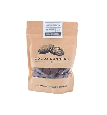 Cocoa Runners Chocolate Buttons for Baking, Cooking, & Drinking - Menakao 44% Cocoa Milk Chocolate