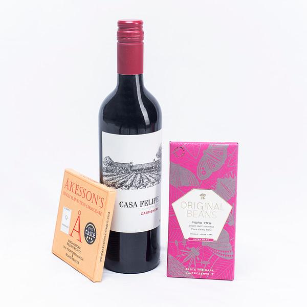 Chocolate & Wine Gift: Casa Felipe Carmenere & Dark Chocolate