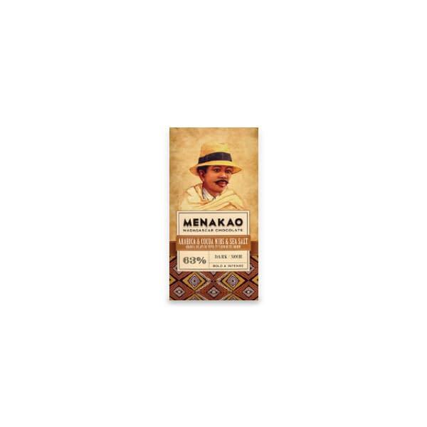 Menakao - Dark Chocolate with Arabica Coffee, Sea Salt & Nibs (Taster bar)