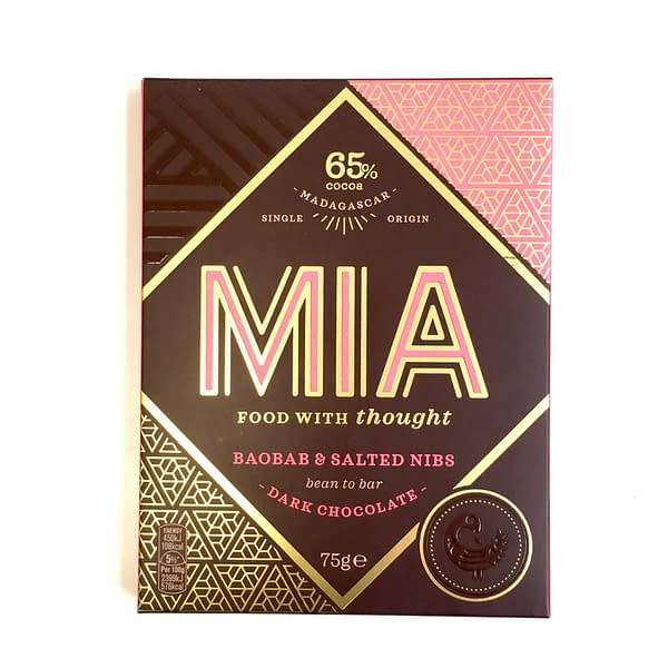 MIA - 65% Dark Chocolate with Baobab & Salted Nibs (Carton of 10)